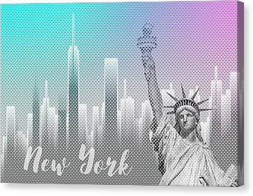 Times Square Canvas Print - Graphic Art New York Mix No 4 - Funky Cyan And Pink by Melanie Viola