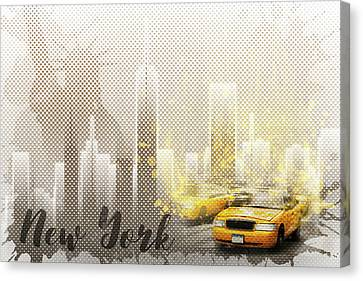 Times Square Canvas Print - Graphic Art New York Mix No. 6 - Brown And Yellow - Splashes by Melanie Viola