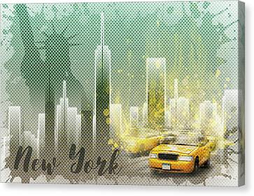 Jazzy Canvas Print - Graphic Art New York Mix No 6 - Green And Yellow by Melanie Viola