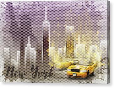 Times Square Canvas Print - Graphic Art New York Mix No 6 - Purple - Splashes by Melanie Viola
