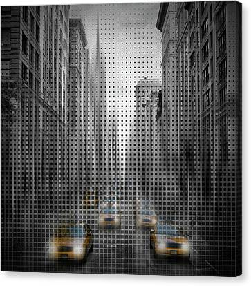 Graphic Art Nyc 5th Avenue Traffic II Canvas Print by Melanie Viola