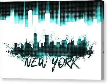 Graphic Art Nyc Skyline - Cyan Canvas Print by Melanie Viola