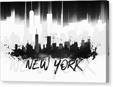 Graphic Art Nyc Skyline II - Black Canvas Print by Melanie Viola