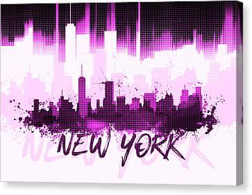 Times Square Canvas Print - Graphic Art Nyc Skyline II - Pink by Melanie Viola