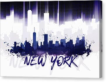 Times Square Canvas Print - Graphic Art Nyc Skyline II - Purple by Melanie Viola