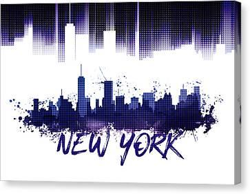 Graphic Art Nyc Skyline Purple Canvas Print by Melanie Viola
