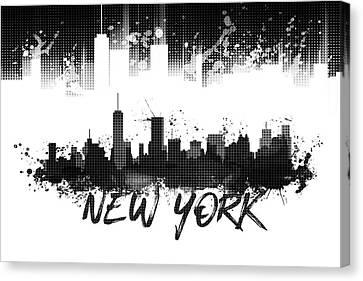 Times Square Canvas Print - Graphic Art Nyc Skyline Splashes - Black by Melanie Viola