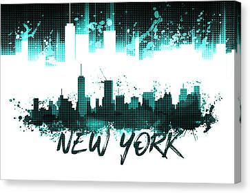 Times Square Canvas Print - Graphic Art Nyc Skyline Splashes - Cyan by Melanie Viola