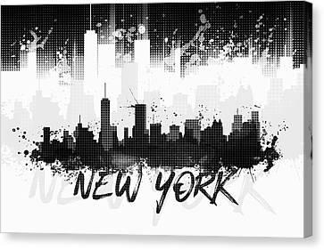 Times Square Canvas Print - Graphic Art Nyc Skyline Splashes II - Black by Melanie Viola