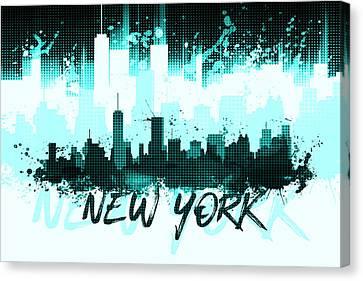 Times Square Canvas Print - Graphic Art Nyc Skyline Splashes II Cyan by Melanie Viola