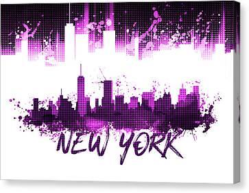 Graphic Art Nyc Skyline Splashes - Pink Canvas Print by Melanie Viola