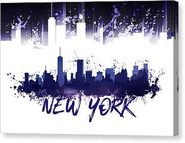 Times Square Canvas Print - Graphic Art Nyc Skyline Splashes - Purple by Melanie Viola