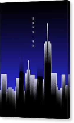 Times Square Canvas Print - Graphic Art Skyhigh Lights - Blue by Melanie Viola