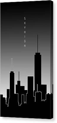 Times Square Canvas Print - Graphic Art Skyhigh Panoramic - Black And White by Melanie Viola