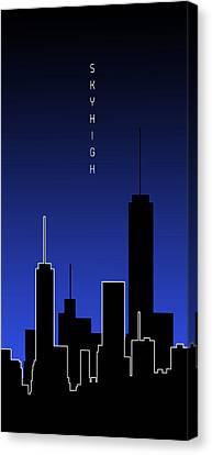 Times Square Canvas Print - Graphic Art Skyhigh Panoramic - Blue by Melanie Viola