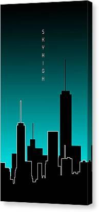 Times Square Canvas Print - Graphic Art Skyhigh Panoramic - Cyan by Melanie Viola