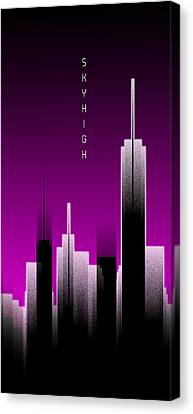 Times Square Canvas Print - Graphic Art Skyhigh Panoramic Lights - Pink by Melanie Viola