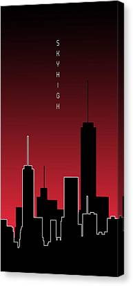 Times Square Canvas Print - Graphic Art Skyhigh Panoramic - Red by Melanie Viola