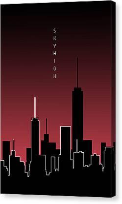 Times Square Canvas Print - Graphic Art Skyhigh - Red by Melanie Viola