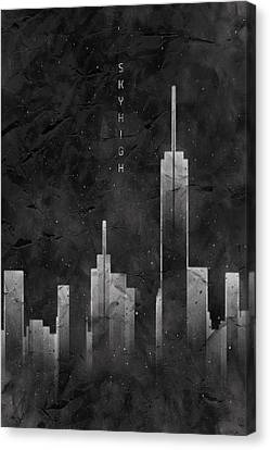 Graphic Art Skyhigh Vintage Look - Black Canvas Print