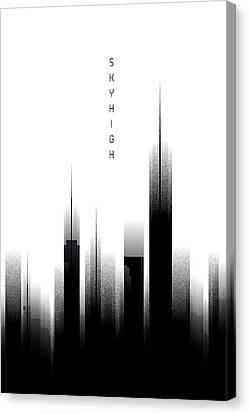 Graphic Art Skyhigh - White Canvas Print by Melanie Viola