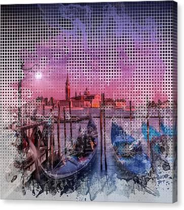 Graphic Art Venice Gorgeous Sunset Canvas Print by Melanie Viola