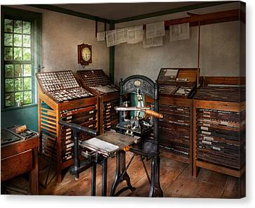 Graphic Artist - The Print Office - 1750  Canvas Print by Mike Savad