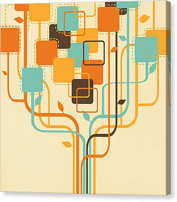 Graphic Tree Canvas Print by Setsiri Silapasuwanchai