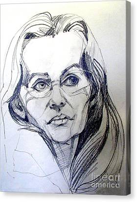 Canvas Print featuring the drawing Graphite Portrait Sketch Of A Woman With Glasses by Greta Corens