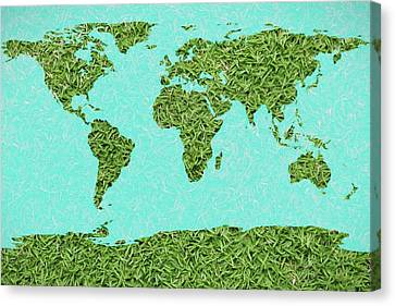 Grass World Map Canvas Print by Dan Sproul