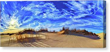Grassy Dunes At Sandhills Canvas Print by ABeautifulSky Photography