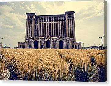 Grassy Michigan Central Station - Detroit Canvas Print by Alanna Pfeffer