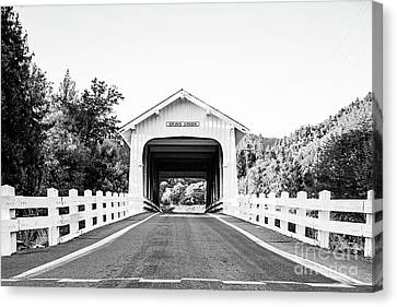 Grave Creek Bridge - Bw Canvas Print