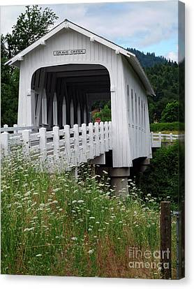 Grave Creek Bridge Canvas Print by Methune Hively