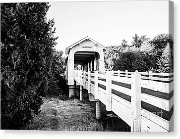 Grave Creek Covered Bridge - Bw Canvas Print