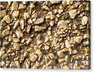 Canvas Print featuring the photograph Gravel Stones On A Wall by John Williams