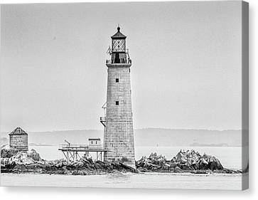 Graves Lighthouse- Boston, Ma - Black And White Canvas Print