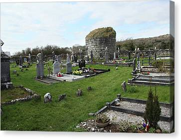 Canvas Print featuring the photograph Graveyard Antigua Iglesia De Killinaboy Ireland by Marie Leslie