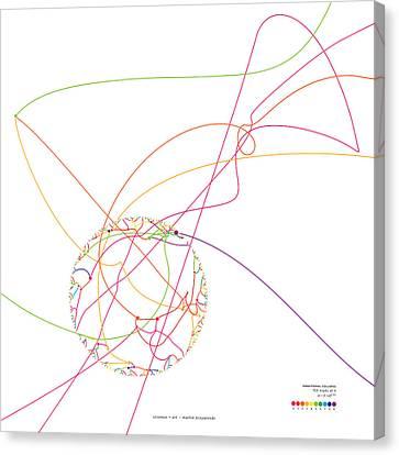 Gravitational Simulation Of 153 Digits Of Pi. Canvas Print by Martin Krzywinski