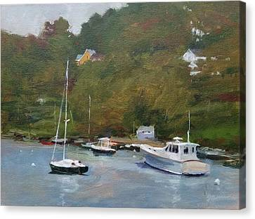 Gray Afternoon At Rockport Harbor Canvas Print by Peter Salwen