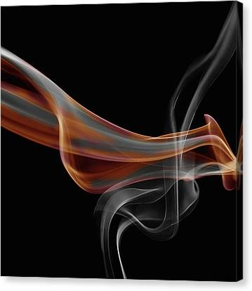 Mist Canvas Print - Gray And Orange Smoke Abstract by Art Spectrum