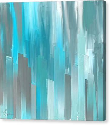 Blue Flowers Canvas Print - Gray And Teal Abstract Art by Lourry Legarde