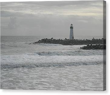 Gray Day Lighthouse Canvas Print by Sharon McKeegan