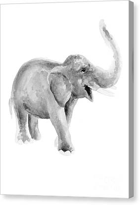 Gray Elephant Watercolor Painting Canvas Print by Joanna Szmerdt