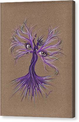 Canvas Print featuring the drawing Gray Eyes by Dawn Fairies