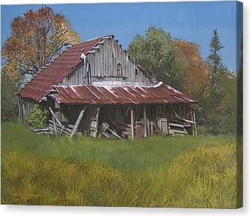 Gray Farm Building Canvas Print by Peter Muzyka