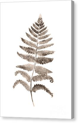 Floral Canvas Print - Gray Fern Watercolor Art Print Painting by Joanna Szmerdt