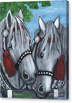 Gray Horses Canvas Print by Anna Folkartanna Maciejewska-Dyba