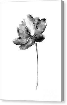 Gray Lotos Flower Watercolor Art Print Canvas Print