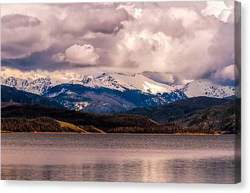 Canvas Print featuring the photograph Gray Skies Over Lake Granby by Tom Potter